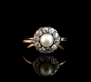 Antique Diamond and pearl cluster ring, 18ct gold, Art Nouveau