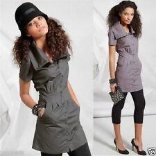 Cotton Collared Patternless Shirt Dresses
