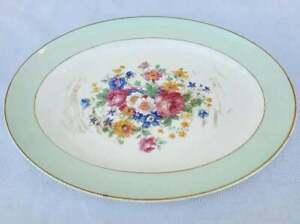 Vintage Pope Gosser Oval Platter Green Band Colorful Flowers