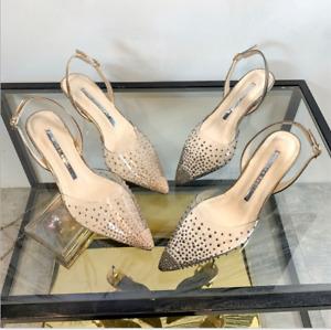 Womens Fashion Kitten Heels Slingback Sandals Rhinestone Buckle Party Pumps Shoe