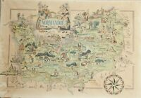 Printed by Jacques Liozu Pictorial map ¨Normandie¨. Printed in France