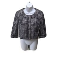 White House Black Market Plaid Cropped Blazer 3/4 Sleeve Big Snaps Womens 8