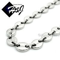 "18-40""MEN Stainless Steel 10mm Silver Puffed Mariner Link Chain Necklace*N139"