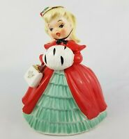 """Vintage NAPCO Christmas Lady Ceramic Planter AX2193B 7"""""""