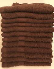 12 PIECE NEW BROWN WASHCLOTHS TOWEL DOBBY BORDER STYLE RINGSPUN 100%COTTON