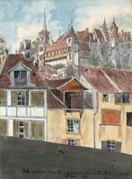 NEUCHATEL SWITZERLAND Watercolour Painting ELIZABETH CAMPBELL 1821 - GRAND TOUR