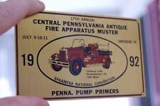 1992 HARRISBURG PA ANTIQUE FIRE DEPT. TRUCK CLUB MUSTER PUMP PLAQUE BRASS SIGN