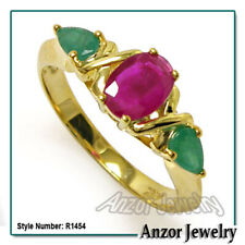 18k Solid Yellow Gold Three-Stone Emerald and Ruby Mother's  Ring