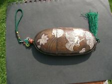 "Japanese Copper / Silver Inro Box with Cranes & Chrysanthemums 6"" long"