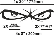 "No Fear 'Eyes' Logo Car/Van Sticker Set Gloss Black 1x large 30"" plus 4x Med 8"""