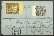 BAHAMAS KGV 1918 RARE WAR TAX 1s PLUS 3d ON COVER (FRONT ONLY) USED