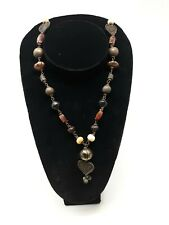 UNIQUE fossil Blood Amber copper brass bone Beads LONG ARTISAN NECKLACE 21""