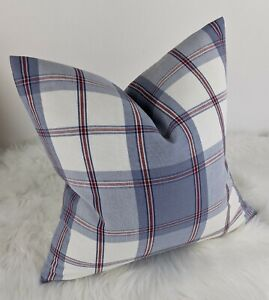 "Nautical Check Tartan style Cushion Cover, Designer Prestigious blue 16""x16"""