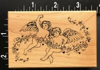 LITTLE CHERUBS ANGELS WITH ROSE FLOWER VINE PSX G-3355 Wood Mounted Rubber Stamp