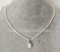 kultivierte winzige 2,5-3,5 mm weiße Süßwasser Perlenkette 17 Zoll & Anhänger