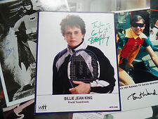 Billie Jean King LOT 2 Signed inscribed Autograph 8x10 Green INK lots of writing