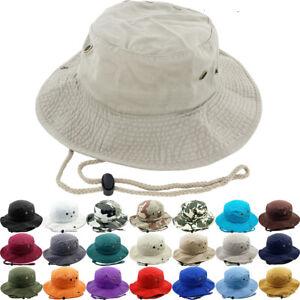 Unisex 100% Cotton Bucket Hat Fish man Camping Safari Boonie Sun Summer Outdoor