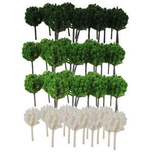 200x Green&White Models Tree 1/300 Z 4CM Height for Train Railroad Scene DIY