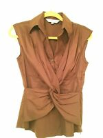 Trina Turk Brown Sleeveless V Neck Twisted Blouse, Hidden Zipper, Size Small
