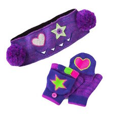 SO Girls' Monster Headwrap & Convertible Flip Mittens Set - Purple - One Size