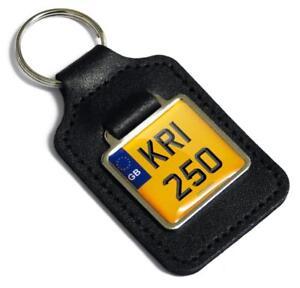 KR1 250 Reg Number Plate Leather Keyring Fob for Kawasaki KR1250 2 Stroke Key