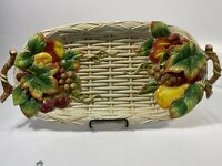 FITZ & FLOYD WOODLAND FOLIAGE LARGE SERVING PLATTER FRUITS