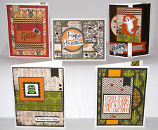 "Halloween Greeting Cards Handmade - Set #9 - 5 A2 Size (5.5""X4.25"") & Envelopes"