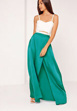 Missguided: Satin Split Side Maxi Skirt Turquoise, Size 10 NWT