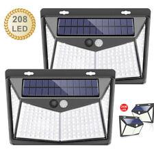 208 LED Solar Powered Wall Light PIR Motion Sensor Outdoor Garden Security Lamp
