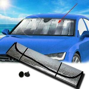 Folding Front Rear Car Window Sun Shade Auto Visor Windshield Block Cover Silver