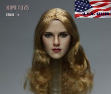 """1/6 Female Head Sculpt Blonde Curly Hair For 12"""" PHICEN Hot Toys Figure ❶USA❶"""