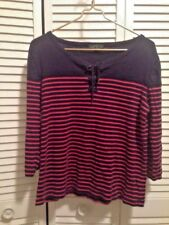 Ralph Lauren Woman's Stripe Knit Top Long Sleeves Blue Red Ties at Neck Size XL