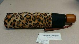 Adrienne Landau Women's Compact  Leopard Automatic Umbrella NWT