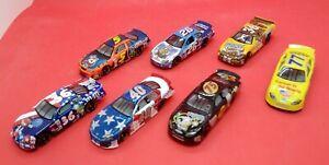 (7) Racing Champions racing cars TonyTiger/Shrek/M&M/Snickers/patriotic  -loose