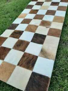 NEW COWHIDE TABLE RUNNER PATCHWORK CARPET AREA RUG LEATHER cow hide