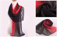 New Black & Red Long Soft Women Fashion Chiffon Scarf Wrap Shawl Stole Scarves