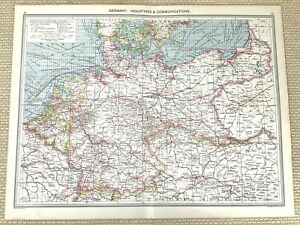 1910 Antique Map of Germany The German Empire Industry Commerce Trade Activity