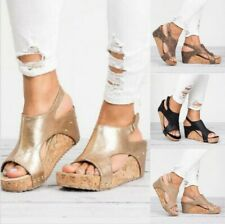 Women's Wedge Heel Platform Sandals Ladies Summer Casual Ankle Strap Shoes Size