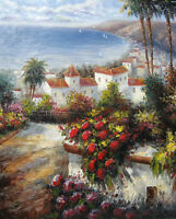 Fascinating Oil painting impressionism Mediterranean landscape & summer flowers