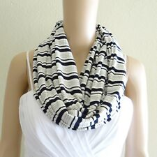 White And Black And Grey Stripe Circle Scarf. Stripe Infinity Scarf.Loop Scarf.