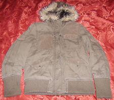 Womens Girls SAMUEL & KEVIN army green faux fur hood coat jacket size S USED