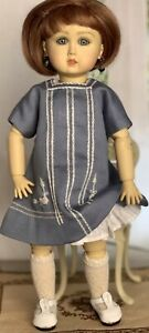"Boneka Hand Embroidered Dress attached under-slip 4 11"" Antique Bleuette Doll"