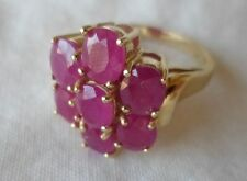 14K Yellow Gold Cluster Ruby Ring - 6.5 grams, Size 6.75, 2.80 ctw