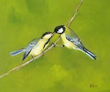 Original Oil painting - wildlife - bird art - great tits    - by j payne