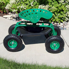 Sunnydaze Rolling Garden Cart with 360-Degree Swivel Seat & Tool Tray - Green