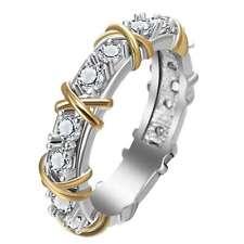 Women Fashion White Topaz Gemstone 925 Sterling Silver Wedding Band Ring Jewelry