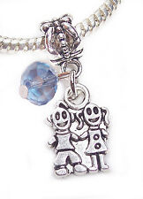 Twins Boy Girl Brother Sister March Birthstone Dangle Bead for Charm Bracelets