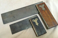 "Vintage Try Square 2 Piece lot - 3"" Ebony & 6"" Rosewood Handle Brass Bound Wood"