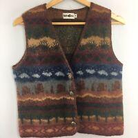 Vtg Winona Wool Vest M Medium Southwest Desert Cactus Sleeveless 80s