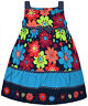 Girls New Floral Party Sleeveless Dress Kids 100% Cotton Navy Age 2 3 4 Years